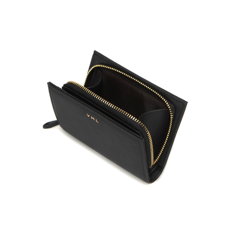 TONA ZIPPER WALLET - BLACK